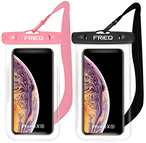 Waterproof Case 2 Pack for iPhone 13/13 Pro Max/12/12 Pro/SE/Xs Max/XR/8P/7 Galaxy up to 7″ (Black and Pink)