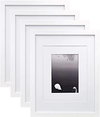 Egofine 11x14 Picture Frames Made of Solid Wood 4 PCS White - for Table Top and Wall Mounting for Pictures 8x10/5x7 with Mat