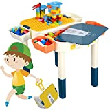 CIRO Kids 6-in-1 Multi Activity Building Block Table - 60 Pieces Building Blocks Compatible Bricks Toy, Play Table with Storage for Boys Girls Over 3 Years Old
