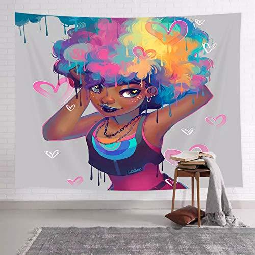 N/A Tapiz decoración de la Pared del Dormitorio Colgante de Pared de Tapizcon Estampado de corazón de niñaColorida deCabello Afro