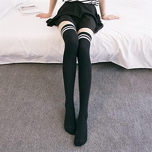 JYDZSW Chaussettes Lolita Cotton School School Fille sur genouillère Long Adorable Anime High High Blanc Blanc Kawaii Étudiant Cosplay Sailor Moon (Color : Black, Size : One Size)
