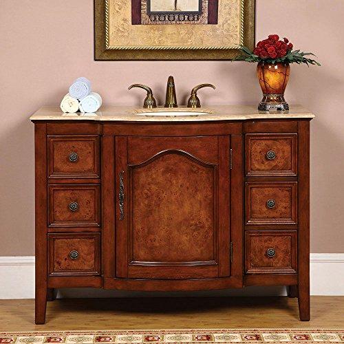 "Silkroad Exclusive Hyp-0701-T-Uic-48 Travertine Stone Single Sink Bathroom Vanity with Cabinet, 48"", Medium Wood"