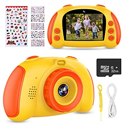 ITSHINY Kids Digital Camera, Kids HD Camera [ 32GB SD Card ] with 12.0 Mega Pixels & 1080P Birthday Toy Gifts for Age 3-9 Boys Girls -Yellow