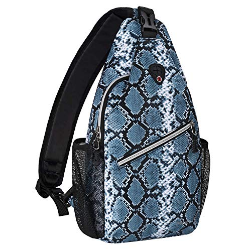 MOSISO Sling Backpack,Travel Hiking Daypack Pattern Rope Crossbody Shoulder Bag, Python Grain