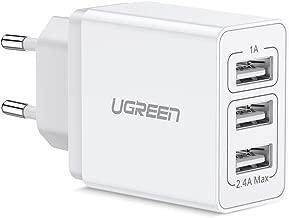 UGREEN Cargador USB con 3 Puertos, Cargador Móvil de Pared 5V 3.4A, Cargador USB Multipuerto Una Corriente Máxima de 2,4A para Xiaomi Redmi Note 7, Samsung Galaxy A20e y Otros USB Dispositivos