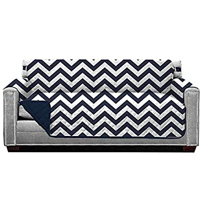 Sofa Shield Original Patent Pending Reversible Patterned Sofa Protectors, Machine Washable Furniture Slipcover, 2 Inch Strap, Couch Sofas Slip Cover Throw, Slipcovers for Pets, Kids, Cats