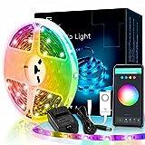 Tira de luces LED inteligentes, tiras de luz WiFi de 5 m, funciona con Alexa, Google Home, 16 millones de colores que cambian con control de aplicación, sincronización de música, tira de iluminación para dormitorio, cocina, sala de estar (no requiere concentrador)