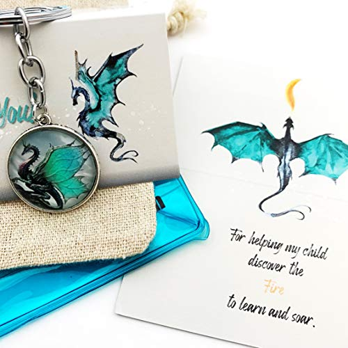 Smiling Wisdom - Dragon Keychain Mentor Appreciation Card - Thank You For Helping My Child Discover the Fire to Learn and Soar - From Parents of Student - Man, Woman - Silver Blue