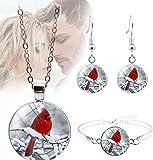3Pcs/Set Cardinals Birds Retro Necklace Pendant Set, Cardinals Birds Retro Necklace Bracelet Earrings, Angel Red Bird Cardinal Necklace & Bracelet & Earrings Jewelry Gift