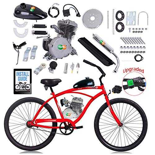 "YUEWO 80cc Motorized 2-Stroke Upgrade Bike Conversion Kit, DIY Petrol Gas Engine Bicycle Motor Kit Set with Speedometer for 24"", 26"" and 28"" Bikes (Sliver)"