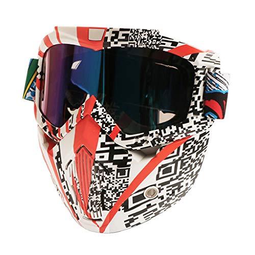 Motormasker voor dirtbikes, afneembare zonnebril, Harley stijl, motorbril, mond, voor open helmen, half gezicht, skiën, snowboarden, motorcross Regulable
