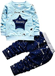 Clothing 2 in 1 Children Five-pointed Star Inkjet Dot Letter Pattern Long-sleeved Shirt + Trouser Set, Height:110cm(Light Blue) Clothing (Color : Light Blue)