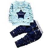 LEIXIN Vestido del bebé 2 en 1, los niños de Cinco Puntas Modelo de Estrella de inyección de Tinta Dot Carta de Manga Larga Camisa + Pantalones Set, Altura: 90 cm (Azul Claro) (Color : Yellow)
