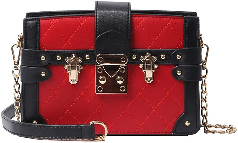 Ladies Handbag European and American Fashion Sewing Thread Shoulder Bag Lock Chain MultiLayer Diagonal Small Square Bag (color   B, Size   14  20  7cm)