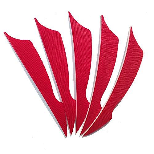 SHARROW 50pcs Bogenschießen Pfeilfedern 4 Zoll Naturfeder Befiederung Bogensport Zubehör (Rot)