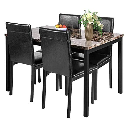 5 Pieces Dining Table Set, Elegant Faux Marble Desk and 4 Upholstered PU Leather Chairs, Perfect for Kitchen, Breakfast Nook, Bar, Living Room