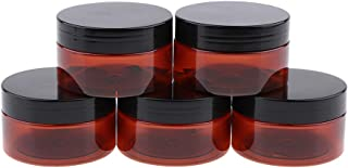 Blesiya 5 Piece 100g Amber Brown Round Jars with Lids for Lip Balms,Creams,Make Up,Cosmetics,Samples,Ointments and other Beauty Products - Black Plastic Lid