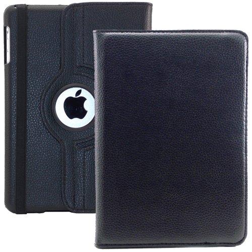 iPad Mini Custodia cover case protezione e supporto rotazione 360° per nuovo iPad MINI eco pelle 7.9 Pollici - Nera (PELLICOLA + PENNINO)