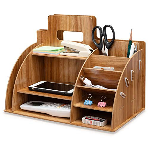 Tonsmile - Organizador de escritorio de madera para oficina