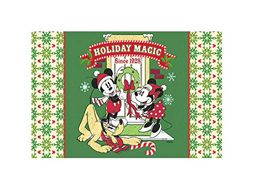 Flagology.com, Disney, Mickey, Minnie, Pluto Holiday Magic Doormat– 18″ x 30″, Outdoor/Indoor, Heavy Duty Recycled Rubber, Non-Slip Backing, Vibrant Colors, Licensed Disney, Christmas