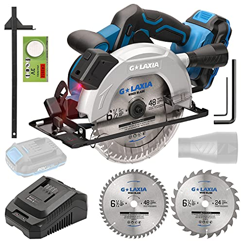 G LAXIA Circular Saw,20V 4300 RPM Cordless Circular Saw,Maximum Cutting Depth 90° 65mm/45° 43mm,2.0Ah Li-Ionen Battery,165mm Saw Blade, Ideal for Wood,Suitable for Professionals