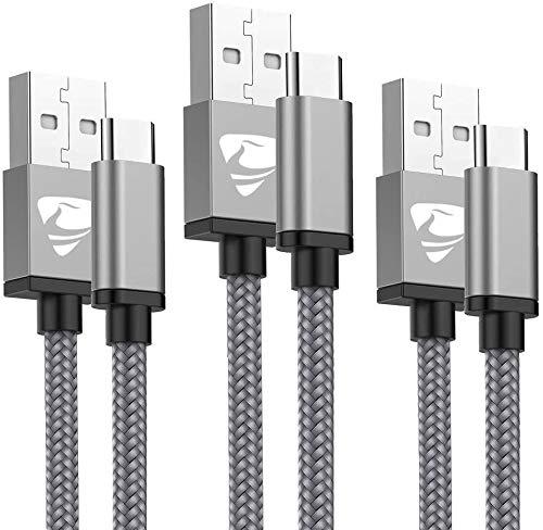 Cavo USB Tipo C Aioneus Cavo USB C 3Pezzi (1+1.5+2)M Ricarica Rapida Caricabatterie per Samsung S8 S9 S10 A20e A30 A40 A50 A70, Cavo Caricabatterie per Huawei P9 P10 P20 P30,Xiaomi Mi 9,Gopro,OnePlus