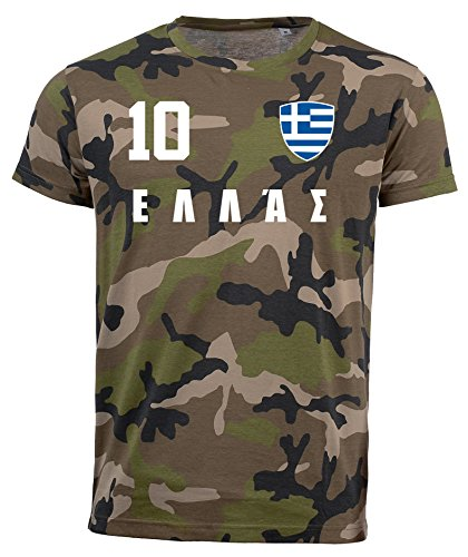 aprom Griechenland Camouflage T-Shirt - All-10 - Trikot Army Look WM World Cup Hellas (M)