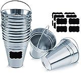 Cubos de metal galvanizado - cubeta de metal para decoración de fiestas con etiqueta de pizarrón - Juego de 12 cubos 12 etiquetas de pizarrón
