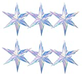 Iridescent Ornament Star Hanging Decorations, 6 Pack 15.74 In hexagon star, Clear Foil Decorative Folding Rainbow Shine Party Ornaments for Bridal Shower Wedding Birthday Frozen Theme Party Decoration