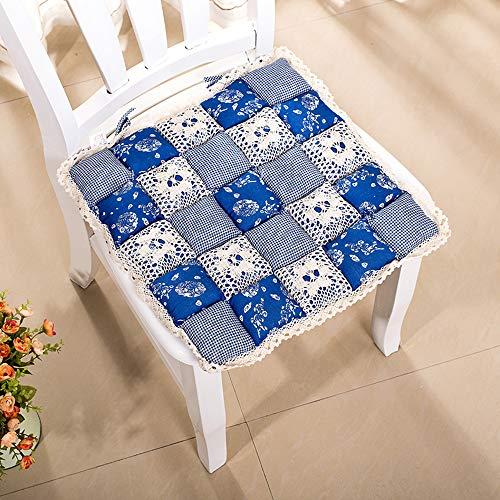 JINGQII - Cuscino per sedia da pranzo, morbido, confortevole, quadrato, in cotone, per interni ed esterni, con stampa calda, con cravatta, per cucina, ufficio, giardino, 40 x 40 x 1 cm, set da 2