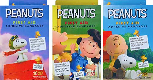New Peanuts Children's First Aid Adhesive Bandages Latex Free Pack of 3 (Peanuts)