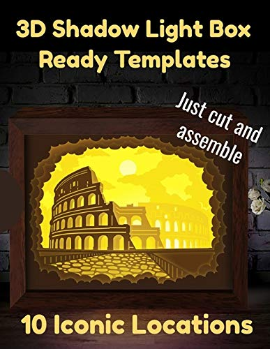 3D Shadow Light Box Ready Templates | 10 Iconic Locations: Just Cut and Assemble | Paper Sculpture Cutouts | DIY Lamp Kit Book