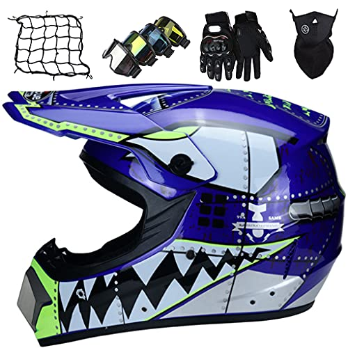 Kids Full Face Motocross Helmet, Youth Motorbike Cross Helmet Set Kids Motorcycle Crash Helmet for MTB Downhill Dirt Bike MX Quad ATV - Blue Shark