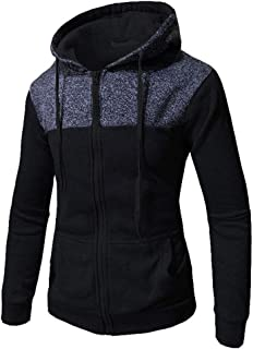 MODOQO Men's Zipper Jacket Hoodies Warm Outdoor Sports Gyms Running Sweatshirt with Pocket