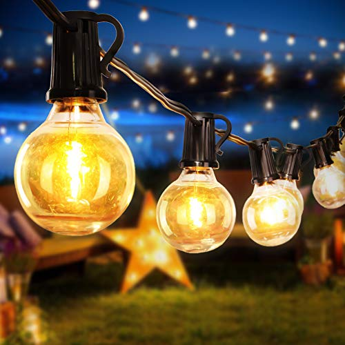 Opard Outdoor Garden String Lights 25 Bulbs 28ft G40 with 3M Extension Cable Waterproof Outdoor String Lights for Patio, Garden, Gazebo (28ft)