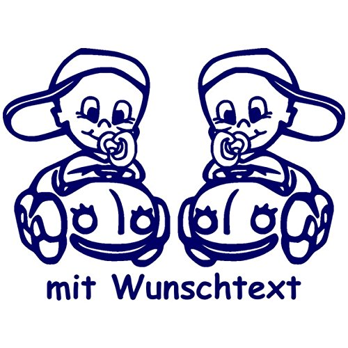 Babyaufkleber Autoaufkleber für Zwillinge mit Wunschtext - Motiv Z36-JJ (16 cm)