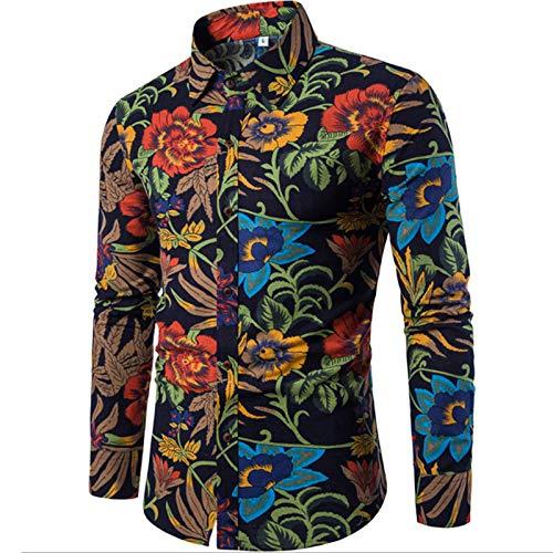 Herenhemd Mode Etnische stijl Bloemen Casual Grote maat Shirt met lange mouwen Mode Meerkleurig slank overhemd voor heren M