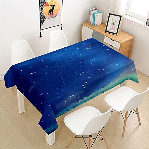 XXDD Hermoso Cielo Estrellado Mantel Mesa de Picnic Rectangular luz Cubierta de Mesa de Lujo Lavable decoración de la Mesa para el hogar Mantel A8 135X135CM