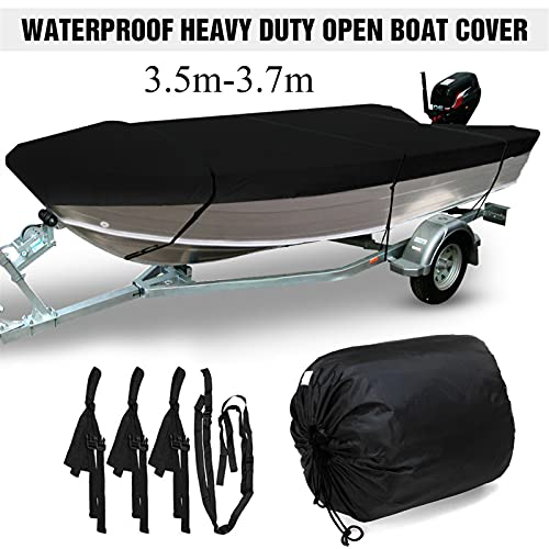 Nbxypeaus Black Heavy Duty Open Boat Cover Pesca Ski Impermeable Runabout V-Hull Trailerable Marine Boat Protege Canvas (Color : 430x205cm)