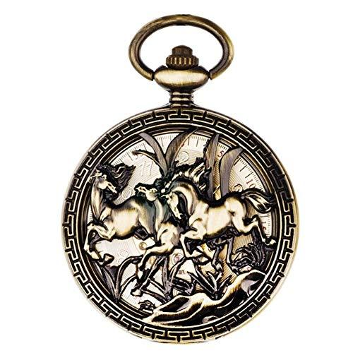 CDPC Reloj de Bolsillo, Reloj mecánico automático para Hombres y Mujeres, Mesa de Examen con Tapa, Reloj de Bolsillo Hueco Retro para conmemorar