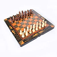 スリーインワンチェス、チェッカーとバックギャモンボードゲームの組み合わせセット、木製の折りたたみ式ボードセット、大人と子供のためのチェス (Size : 40×20×6cm)