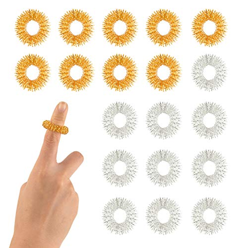 FEPITO 20 Packs Spiky Massage Finger Rings, Finger Acupressure Ring Set Fidget Massage Toy For Kids Teens Adults, 2 Colors