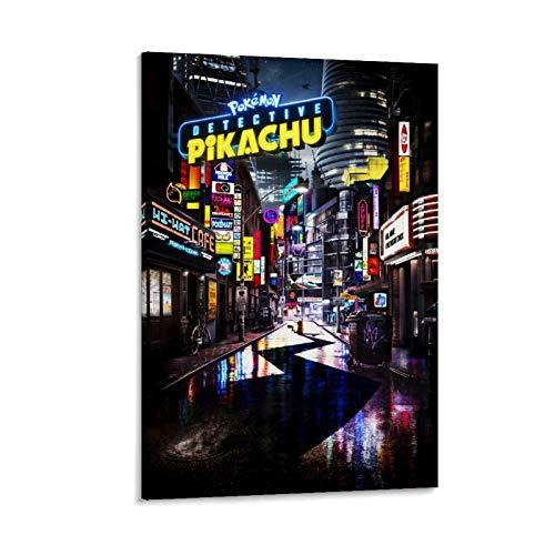 Cartel de película Detective Pikachu Pintura decorativa Lienzo Arte de la pared Carteles de la sala de estar Pintura del dormitorio 60 x 90 cm