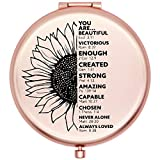 Onederful Inspirational Quotes and Saying Frosted Travel Compact Pocket Makeup Mirror for Sister Daughter Niece from Mom Dad Friend Aunt,Birthday Christmas Graduate Gifts Ideas for Her-Sun Flower