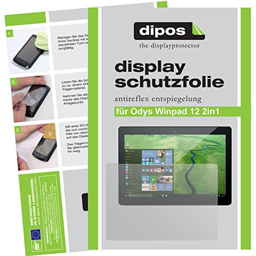 dipos I 2X Schutzfolie matt kompatibel mit Odys WinPad 12 2in1 Folie Bildschirmschutzfolie