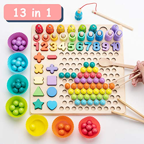 Surplex Juegos Montessori Matematicas Juego de Pesca magnética de Madera Clip Beads Juego de Mesa de Rompecabezas Año Nuevo, Manos Cerebro Entrenamiento Juguete Educativo para 3 4 5 años Niño Niña
