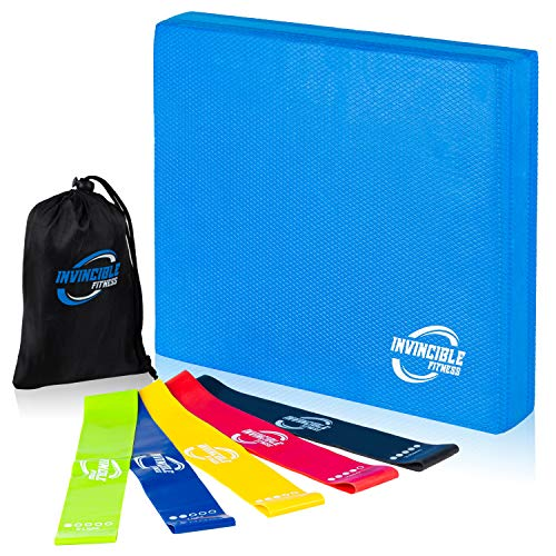 Invincible Fitness Foam Balance Pad Set with 5 Loop Resistance Bands for Physical Therapy, Rehabilitation Stability Workout, Knee and Ankle Recovery Exercise, Yoga, Strength and Fitness Training