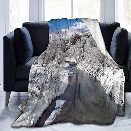 Manta mullida, de invierno con diseño de árboles nevados y río, súper suave, manta de forro polar, manta para bebé, dormitorio, cama, TV, manta de 152 x 127 cm