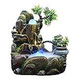 ZAZA Fuente Multifuncional Creative Desktop Fountain Resin Indoor Fountain Cascade Rock Cascada Atomización Humidificador Rotating Bead Decoration Regalo Fuente casera (tamaño : Small)