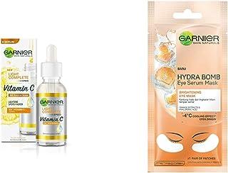 Garnier Light Complete VITAMIN C Booster Face Serum 30 ml & Garnier Hydra Bomb Eye Serum Mask, Orange, 6 g